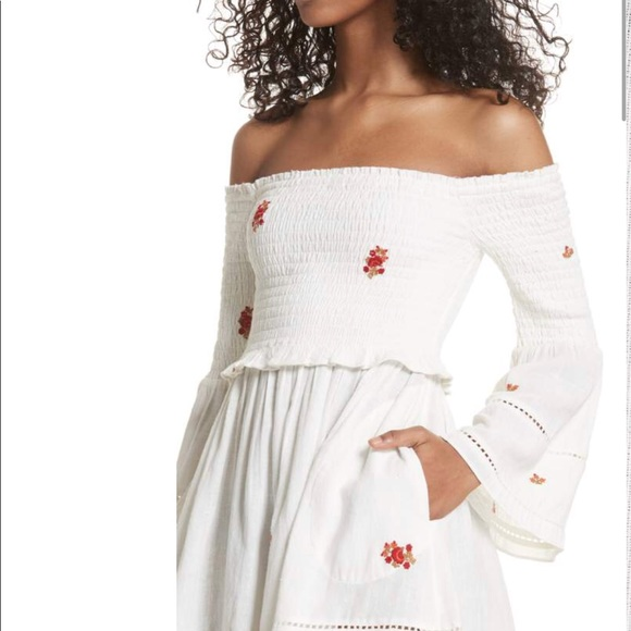 FREE PEOPLE Counting Daisies Mini Dress L Ivory White Off the Shoulder NWT